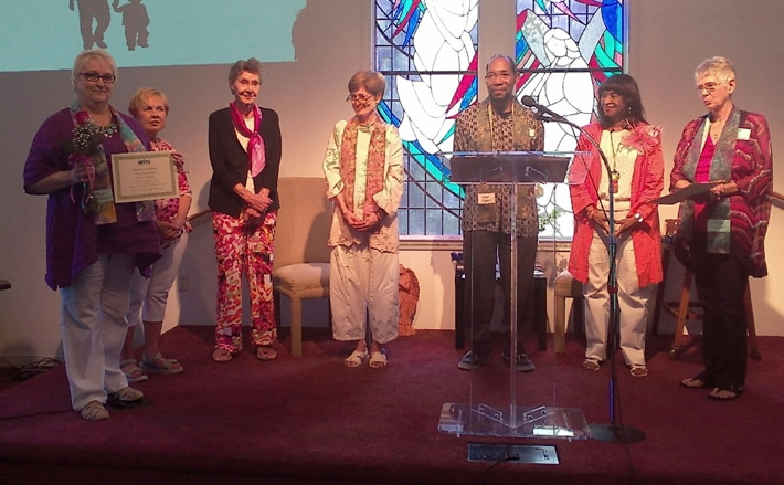 Unity Prayer Chaplains (from left) installed June 2016 are Diane Rogers, Barbara Wolfe, Shirley Rappaport, Susan Dimaline, Leo Stewart, Rev. Joy Walker and Sandra Rucker.
